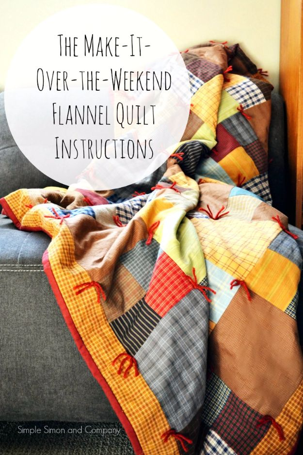 Best Quilts to Make This Weekend - Over-The-Weekend Flannel Quilt - Free Quilt Patterns and Quilting Tutorials - Quilting for Beginners and Sewing Ideas - DIY Baby Quilts, Printables, New and Easy Modern Quilts, Jelly Roll, Quilt Squares, Fat Quarters and Scrap Ideas #diy #quilting #sewing