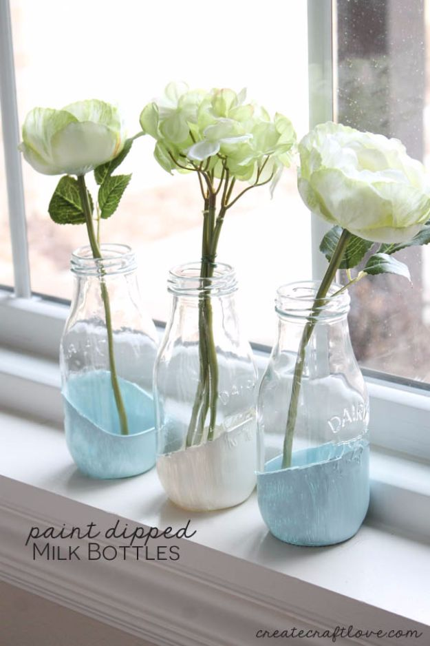Last Minute Christmas Gifts - Paint Dipped Milk Bottles - Quick DIY Gift Ideas and Easy Christmas Presents To Make for Mom, Dad, Family and Friends - Dollar Store Crafts and Cheap Homemade Gifts, Mason Jar Ideas for Gifts in A Jar, Cute and Creative Things To Make In A Hurry http://diyjoy.com/last-minute-gift-ideas-christmas