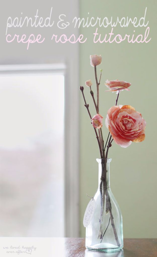 DIY Paper Flowers - Painted And Microwaved Crepe Rose - How To Make A Paper Flower - Large Wedding Backdrop for Wall Decor - Easy Tissue Paper Flower Tutorial for Kids - Giant Projects for Photo Backdrops - Daisy, Roses, Bouquets, Centerpieces - Cricut Template and Step by Step Tutorial