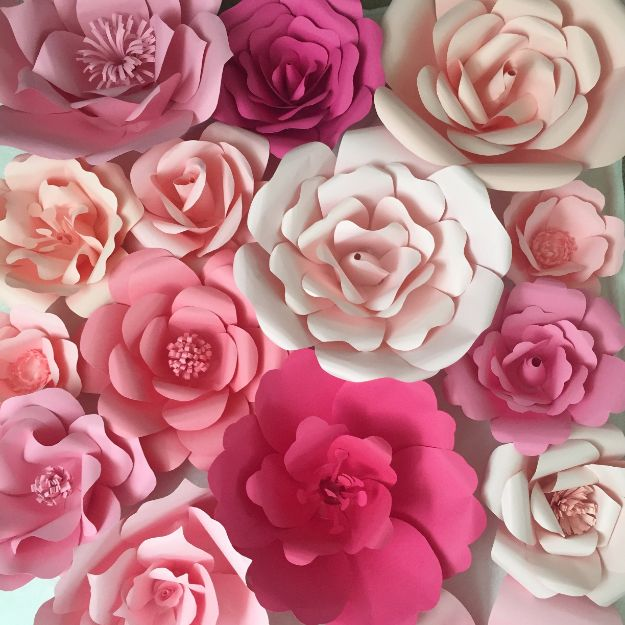 DIY Paper Flowers - Paper Flower Backdrop - How To Make A Paper Flower - Large Wedding Backdrop for Wall Decor - Easy Tissue Paper Flower Tutorial for Kids - Giant Projects for Photo Backdrops - Daisy, Roses, Bouquets, Centerpieces - Cricut Template and Step by Step Tutorial http://diyjoy.com/diy-paper-flowers