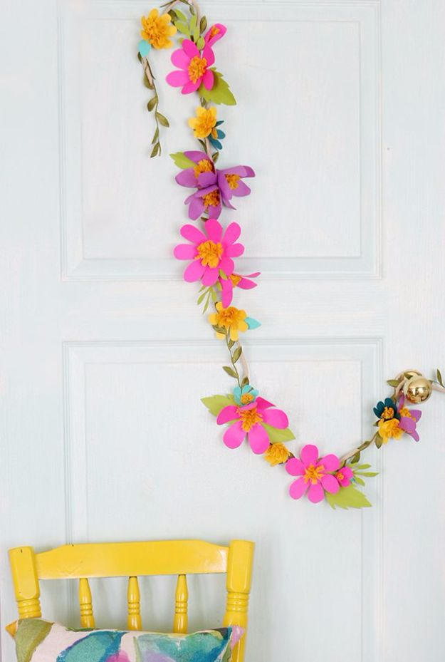 DIY Wedding Decor - Paper Flower Garlands - Easy and Cheap Project Ideas with Things Found in Dollar Stores - Simple and Creative Backdrops for Receptions On A Budget - Rustic, Elegant, and Vintage Paper Ideas for Centerpieces, and Vases http://diyjoy.com/cheap-wedding-decor-ideas