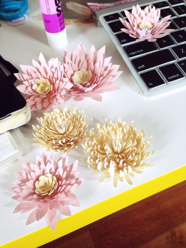 DIY Paper Flowers - Paper Water Lilies And Chrysanthemums - How To Make A Paper Flower - Large Wedding Backdrop for Wall Decor - Easy Tissue Paper Flower Tutorial for Kids - Giant Projects for Photo Backdrops - Daisy, Roses, Bouquets, Centerpieces - Cricut Template and Step by Step Tutorial #diyideas #paperflowers