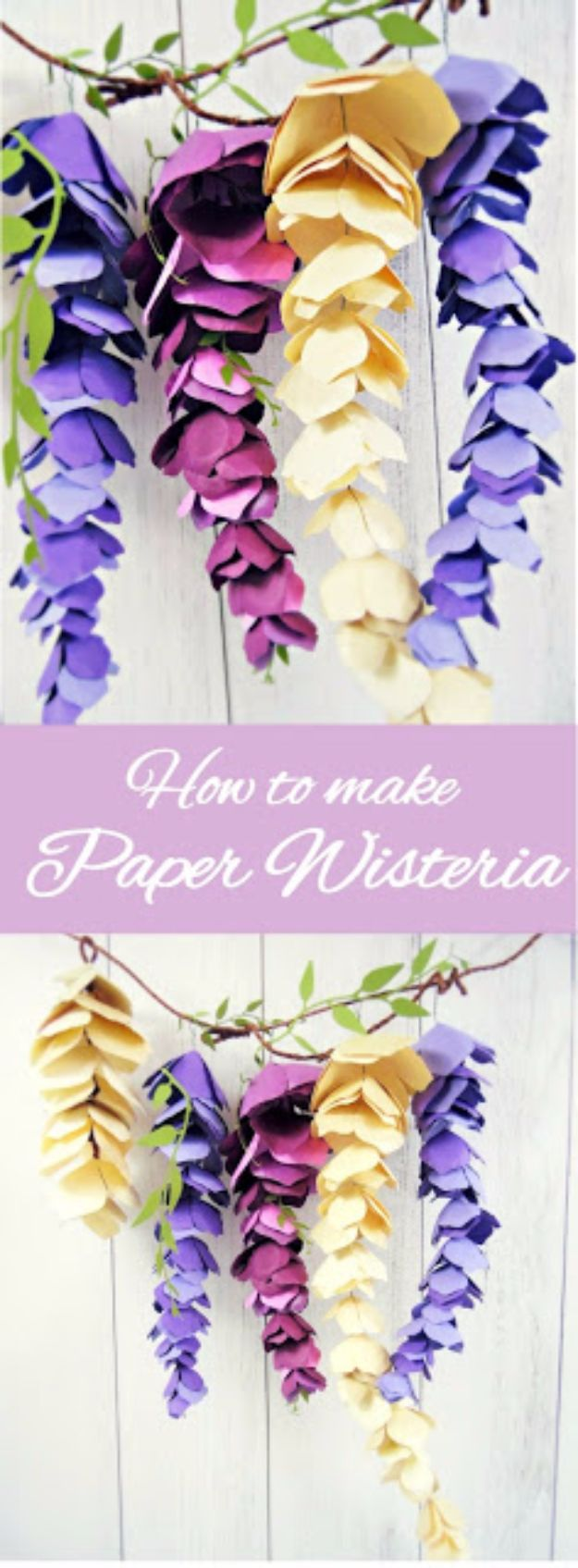 DIY Paper Flowers - Paper Wisteria - How To Make A Paper Flower - Large Wedding Backdrop for Wall Decor - Easy Tissue Paper Flower Tutorial for Kids - Giant Projects for Photo Backdrops - Daisy, Roses, Bouquets, Centerpieces - Cricut Template and Step by Step Tutorial http://diyjoy.com/diy-paper-flowers