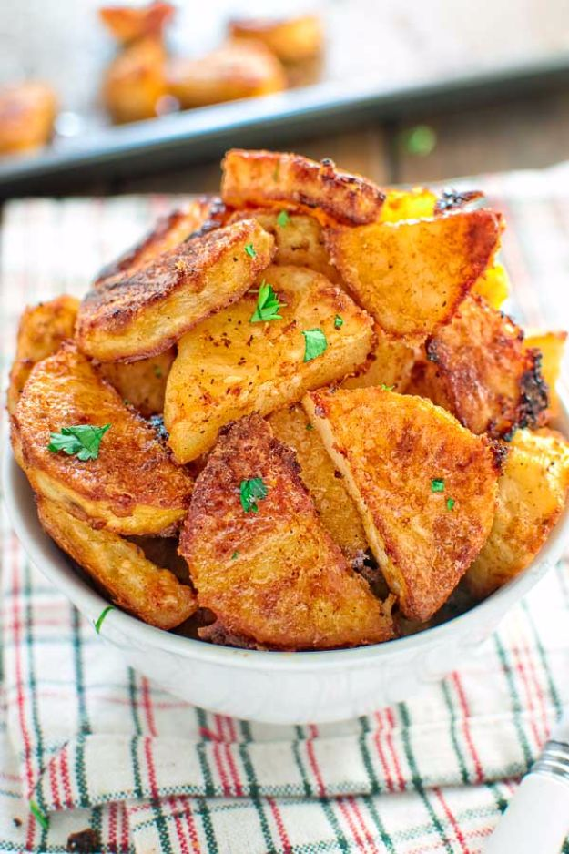 Potato Recipes - Parmesan Crusted Potatoes - Easy, Quick and Healthy Potato Recipes - How To Make Roasted, In Oven, Fried, Mashed and Red Potatoes - Easy Potato Side Dishes and Soup Recipe Ideas for Dinner, Breakfast, Lunch, Appetizer and Snack http://diyjoy.com/potato-recipes