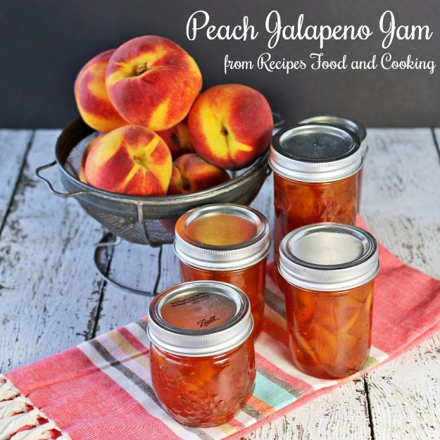 Best Jam and Jelly Recipes - Peach Jalapeño Jam - Homemade Recipe Ideas For Canning - Easy and Unique Jams and Jellies Made With Strawberry, Raspberry, Blackberry, Peach and Fruit - Healthy, Sugar Free, No Pectin, Small Batch, Savory and Freezer Recipes http://diyjoy.com/jam-jelly-recipes