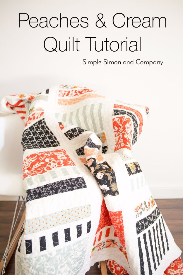 Best Quilts to Make This Weekend - Peaches & Cream Quilt - Free Quilt Patterns and Quilting Tutorials - Quilting for Beginners and Sewing Ideas - DIY Baby Quilts, Printables, New and Easy Modern Quilts, Jelly Roll, Quilt Squares, Fat Quarters and Scrap Ideas #diy #quilting #sewing