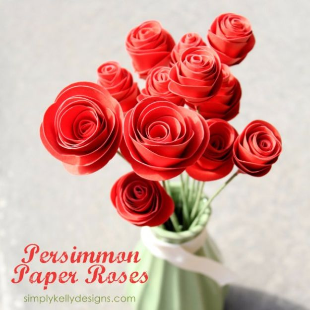 DIY Paper Flowers - Persimmon Paper Roses - How To Make A Paper Flower - Large Wedding Backdrop for Wall Decor - Easy Tissue Paper Flower Tutorial for Kids - Giant Projects for Photo Backdrops - Daisy, Roses, Bouquets, Centerpieces - Cricut Template and Step by Step Tutorial