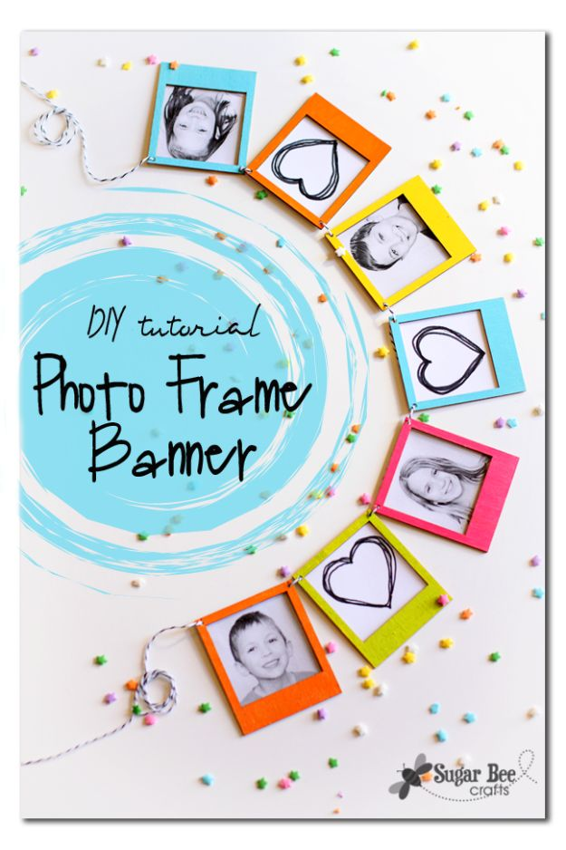 Last Minute Christmas Gifts - Photo Frame Banner - Quick DIY Gift Ideas and Easy Christmas Presents To Make for Mom, Dad, Family and Friends - Dollar Store Crafts and Cheap Homemade Gifts