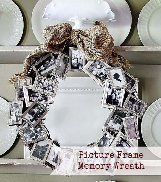 Cool Gifts to Make For Mom - Picture Frame Memory Wreath - DIY Gift Ideas and Christmas Presents for Your Mother, Mother-In-Law, Grandma, Stepmom - Creative , Holiday Crafts and Cheap DIY Gifts for The Holidays - Thoughtful Homemade Spa Day Gifts, Creative Wall Art, Special Ideas for Her - Easy Xmas Gifts to Make With Step by Step Tutorials and Instructions http://diyjoy.com/cheap-holiday-gift-ideas-to-make