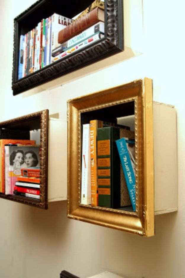 DIY Ideas With Old Picture Frames - Picture Frame Shelving - Cool Crafts To Make With A Repurposed Picture Frame - Cheap Do It Yourself Gifts and Home Decor on A Budget - Fun Ideas for Decorating Your House and Room http://diyjoy.com/diy-ideas-picture-frames