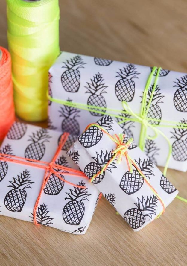 Cool Gift Wrapping Ideas - Pineapple & Neon Gift Wrap - Creative Ways To Wrap Presents on A Budget - Best Christmas Gift Wrap Ideas - How To Make Gift Bags, Reuse Wrapping Paper, Make Bows and Tags - Cute and Easy Ideas for Wrapping Gifts for the Holidays - Step by Step Instructions and Photo Tutorials