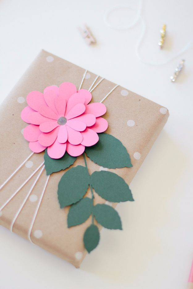 Cool Gift Wrapping Ideas - Pink Bloom Gift Wrap - Creative Ways To Wrap Presents on A Budget - Best Christmas Gift Wrap Ideas - How To Make Gift Bags, Reuse Wrapping Paper, Make Bows and Tags - Cute and Easy Ideas for Wrapping Gifts for the Holidays - Step by Step Instructions and Photo Tutorials