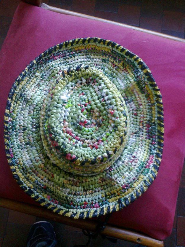 DIY Ideas With Plastic Bags - Plastic Bag Hat - How To Make Fun Upcycling Ideas and Crafts - Awesome Storage Projects Using Recycling - Coolest Craft Projects, Life Hacks and Ways To Upcycle a Plastic Bag #recycling #upcycling #crafts #diyideas