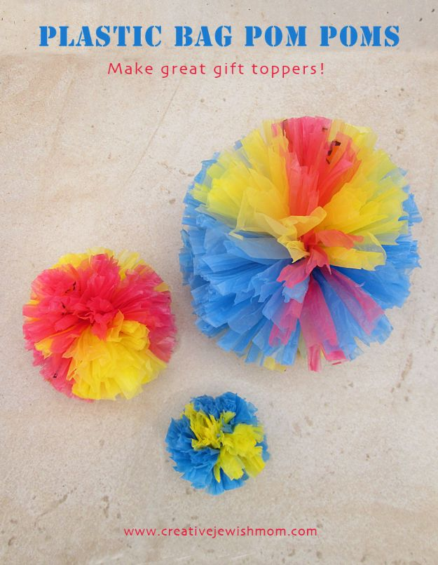 DIY Ideas With Plastic Bags - Plastic Bag Pom Poms - How To Make Fun Upcycling Ideas and Crafts - Awesome Storage Projects Using Recycling - Coolest Craft Projects, Life Hacks and Ways To Upcycle a Plastic Bag #recycling #upcycling #crafts #diyideas
