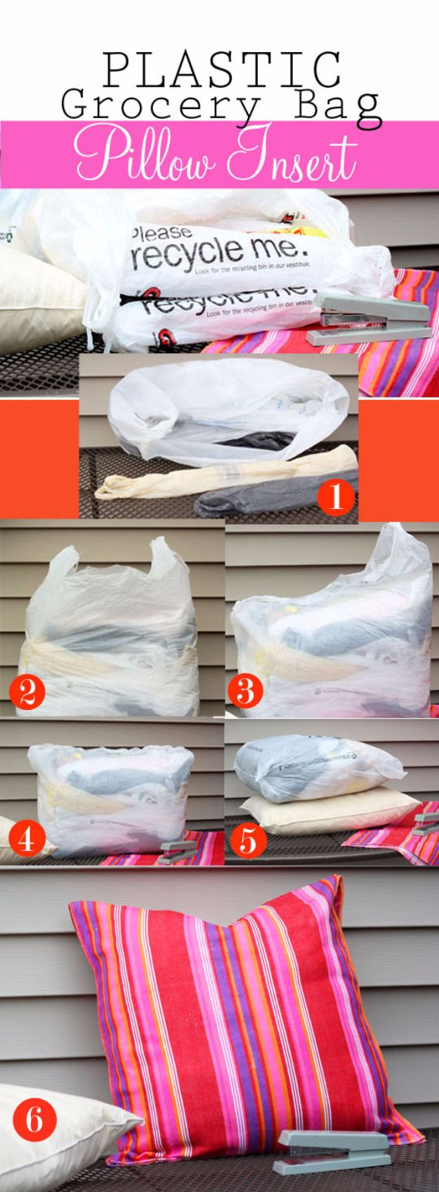 DIY Ideas With Plastic Bags - Plastic Grocery Bag Pillow Insert - How To Make Fun Upcycling Ideas and Crafts - Awesome Storage Projects Using Recycling - Coolest Craft Projects, Life Hacks and Ways To Upcycle a Plastic Bag #recycling #upcycling #crafts #diyideas