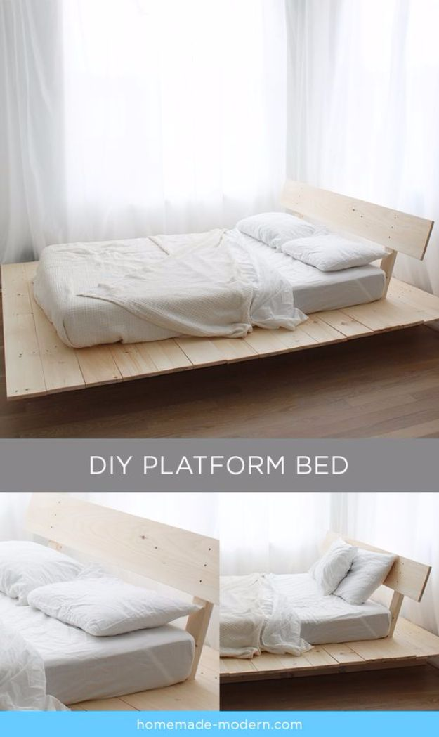 DIY Platform Beds - Platform Bed From Pine Boards - Easy Do It Yourself Bed Projects - Step by Step Tutorials for Bedroom Furniture - Learn How To Make Twin, Full, King and Queen Size Platforms - With Headboard, Storage, Drawers, Made from Pallets - Cheap Ideas You Can Make on a Budget http://diyjoy.com/diy-platform-beds