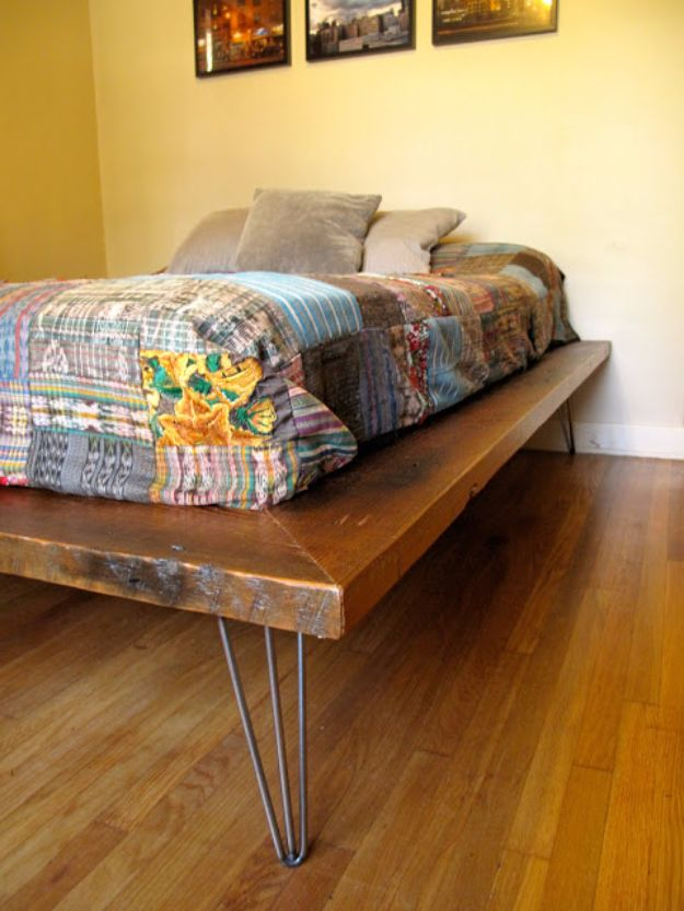 DIY Platform Beds - Platform Bed + Hairpin Legs - Easy Do It Yourself Bed Projects - Step by Step Tutorials for Bedroom Furniture - Learn How To Make Twin, Full, King and Queen Size Platforms - With Headboard, Storage, Drawers, Made from Pallets - Cheap Ideas You Can Make on a Budget http://diyjoy.com/diy-platform-beds