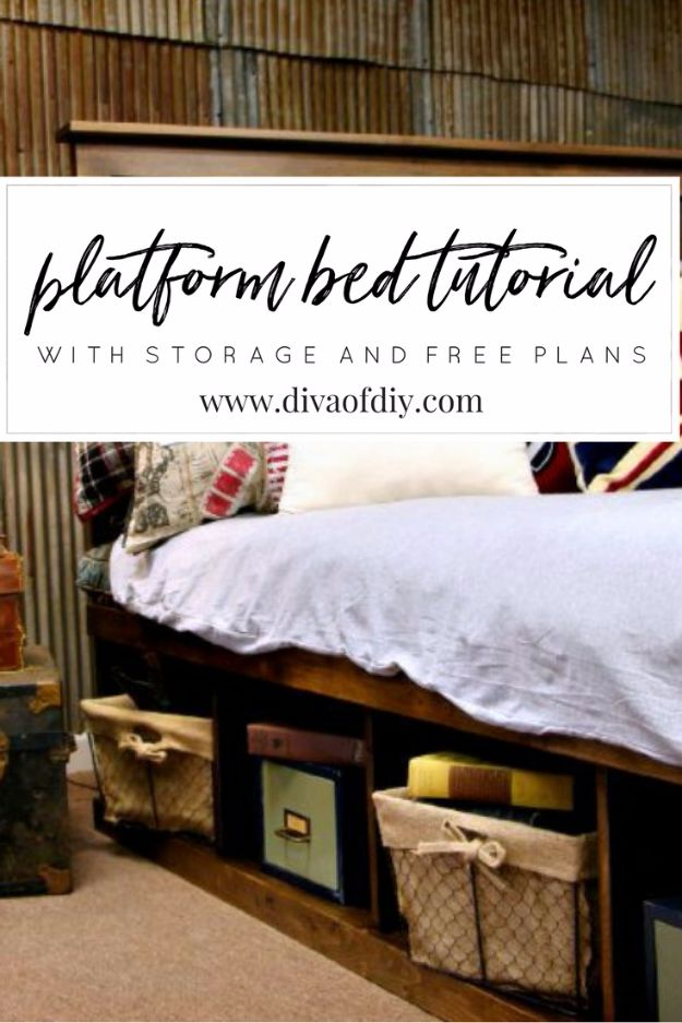 DIY Platform Beds - Platform Bed With Storage And Free Plans - Easy Do It Yourself Bed Projects - Step by Step Tutorials for Bedroom Furniture - Learn How To Make Twin, Full, King and Queen Size Platforms - With Headboard, Storage, Drawers, Made from Pallets - Cheap Ideas You Can Make on a Budget