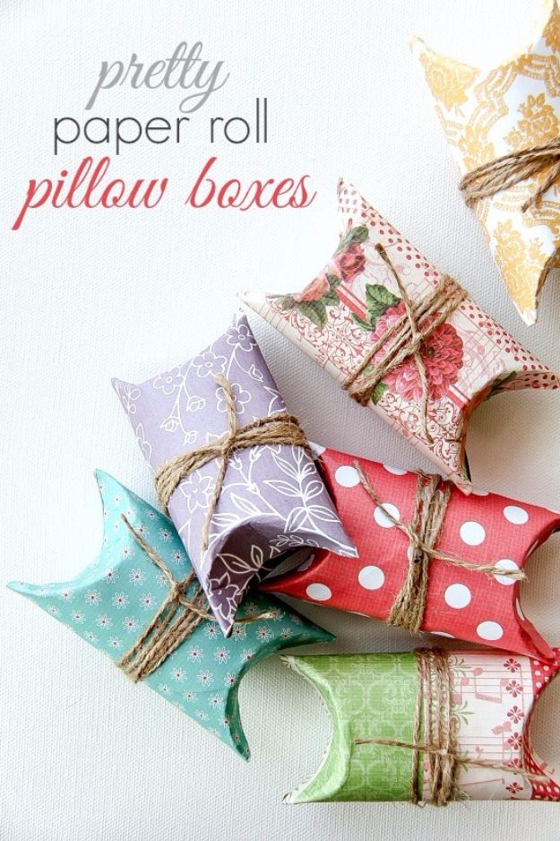 Cool Gift Wrapping Ideas - Pretty Paper Roll Pillow Boxes - Creative Ways To Wrap Presents on A Budget - Best Christmas Gift Wrap Ideas - How To Make Gift Bags, Reuse Wrapping Paper, Make Bows and Tags - Cute and Easy Ideas for Wrapping Gifts for the Holidays - Step by Step Instructions and Photo Tutorials