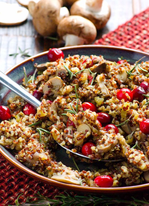 Healthy Thanksgiving Recipes - Quinoa Stuffing - Low fat Versions of Your Favorite Holiday Recipe for Turkey, Stuffing, Gravy, Pie and Desserts, Appetizers, Vegetables and Side Dishes like Spinach, Broccoli, Cranberries, Mashed Potatoes, Sweet Potatoes and Green Beans - Easy and Quick Last Minute Thanksgiving Recipes for Low Carb, Low Fat and Clean Eating Diets http://diyjoy.com/healthy-thanksgiving-recipes