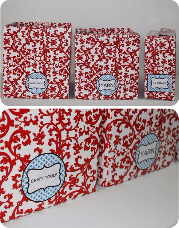 DIY Ideas With Cardboard - Recycle Cardboard Boxes into Pretty Storage Boxes with Editable Labels - How To Make Room Decor Crafts for Kids - Easy and Crafty Storage Ideas For Room - Toilet Paper Roll Projects Tutorials - Fun Furniture Ideas with Cardboard - Cheap, Quick and Easy Wall Decorations http://diyjoy.com/diy-ideas-cardboard