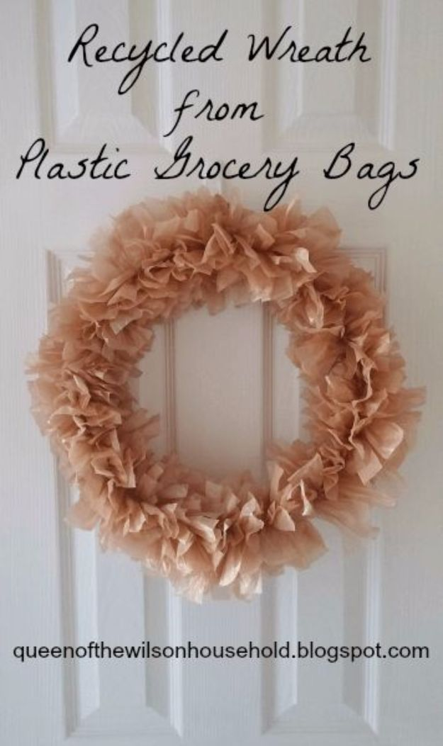 DIY Ideas With Plastic Bags - Recycled Wreath From Plastic Grocery Bags - How To Make Fun Upcycling Ideas and Crafts - Awesome Storage Projects Using Recycling - Coolest Craft Projects, Life Hacks and Ways To Upcycle a Plastic Bag #recycling #upcycling #crafts #diyideas