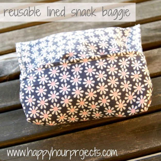 DIY Ideas With Plastic Bags - Reusable Lined Snack Baggie - How To Make Fun Upcycling Ideas and Crafts - Awesome Storage Projects Using Recycling - Coolest Craft Projects, Life Hacks and Ways To Upcycle a Plastic Bag #recycling #upcycling #crafts #diyideas