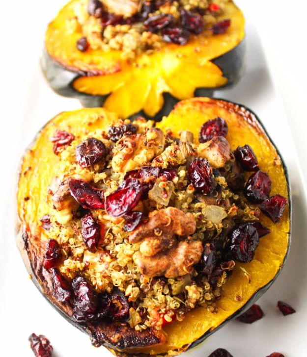 Healthy Thanksgiving Recipes - Roasted Acorn Squash With Cranberry Walnut Quinoa Stuffing - Low fat Versions of Your Favorite Holiday Recipe for Turkey, Stuffing, Gravy, Pie and Desserts, Appetizers, Vegetables and Side Dishes like Spinach, Broccoli, Cranberries, Mashed Potatoes, Sweet Potatoes and Green Beans - Easy and Quick Last Minute Thanksgiving Recipes for Low Carb, Low Fat and Clean Eating Diet