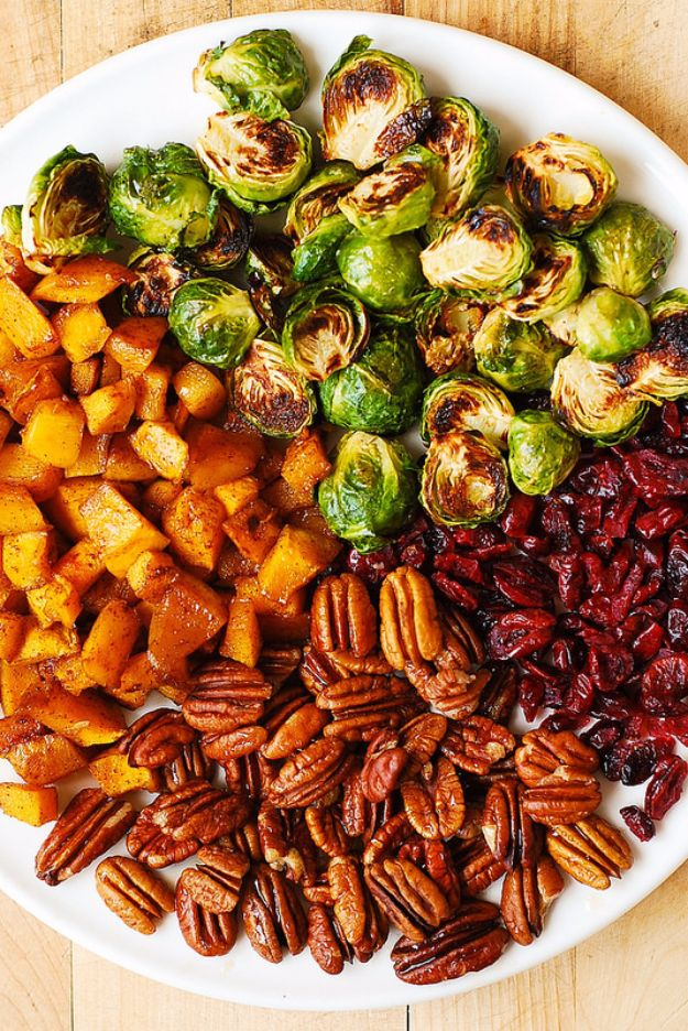 Best Fall Recipes and Ideas for Dinner - Roasted Brussels Sprouts, Cinnamon Butternut Squash, Pecans, and Cranberries - Quick Meals With Chicken, Beef and Fish, Easy Crockpot Meals and Make Ahead Soups and Dinners - Healthy Dinner Recipes and Fast Last Minute Foods With Spinach, Vegetables, Butternut Squash, Pumpkin and Nuts