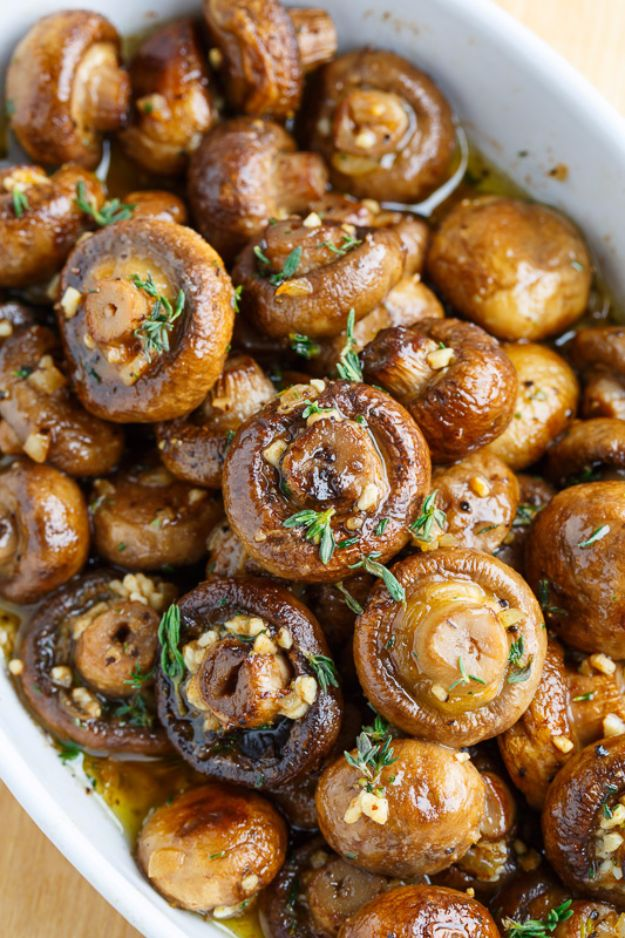 Best Thanksgiving Side Dishes - Roasted Mushrooms In A Browned Butter, Garlic And Thyme Sauce - Easy Make Ahead and Crockpot Versions of the Best Thanksgiving Recipes #thanksgiving #recipes