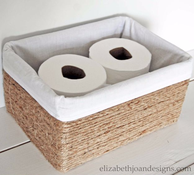 DIY Ideas With Cardboard - Rope Basket From Cardboard Box - How To Make Room Decor Crafts for Kids - Easy and Crafty Storage Ideas For Room - Toilet Paper Roll Projects Tutorials - Fun Furniture Ideas with Cardboard - Cheap, Quick and Easy Wall Decorations #diyideas #cardboardcrafts #crafts