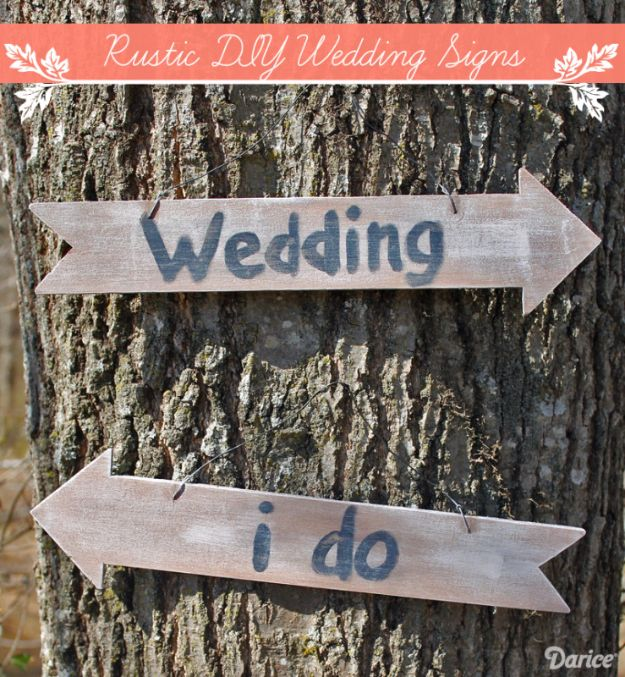 DIY Wedding Decor - Rustic DIY Wedding Signs - Easy and Cheap Project Ideas with Things Found in Dollar Stores - Simple and Creative Backdrops for Receptions On A Budget - Rustic, Elegant, and Vintage Paper Ideas for Centerpieces, and Vases http://diyjoy.com/cheap-wedding-decor-ideas