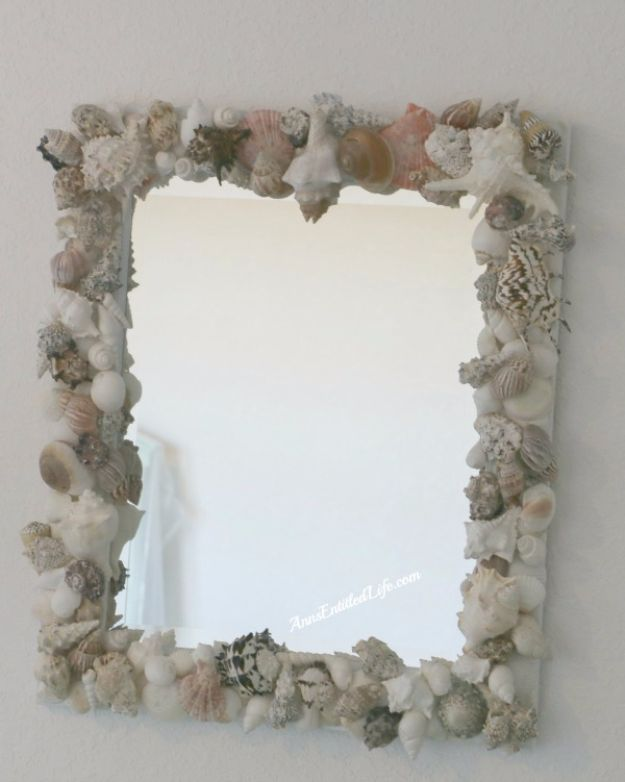 Cheap DIY Gifts and Inexpensive Homemade Christmas Gift Ideas for People on A Budget - Seashell Mirror - To Make These Cool Presents Instead of Buying for the Holidays - Easy and Low Cost Gifts for Mom, Dad, Friends and Family - Quick Dollar Store Crafts and Projects for Xmas Gift Giving #gifts #diy