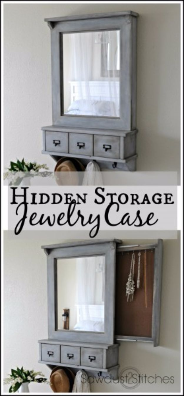 DIY Jewelry Ideas - Secret Compartment Jewelry Case - How To Make the Coolest Jewelry Ideas For Kids and Teens - Homemade Wooden and Plastic Jewelry Box Plans - Easy Cardboard Gift Ideas - Cheap Wall Makeover and Organizer Projects With Drawers Men http://diyjoy.com/diy-jewelry-boxes-storage