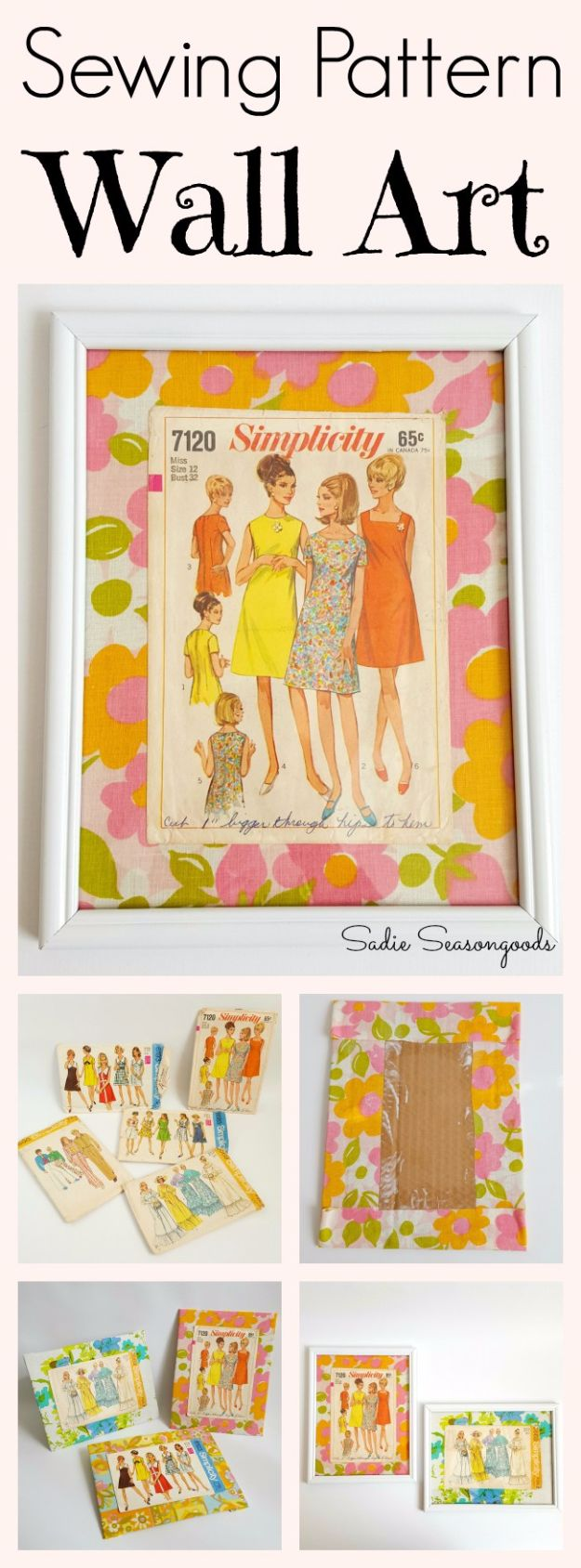 DIY Ideas With Old Picture Frames - Sewing Pattern Wall Art - Cool Crafts To Make With A Repurposed Picture Frame - Cheap Do It Yourself Gifts and Home Decor on A Budget - Fun Ideas for Decorating Your House and Room http://diyjoy.com/diy-ideas-picture-frames