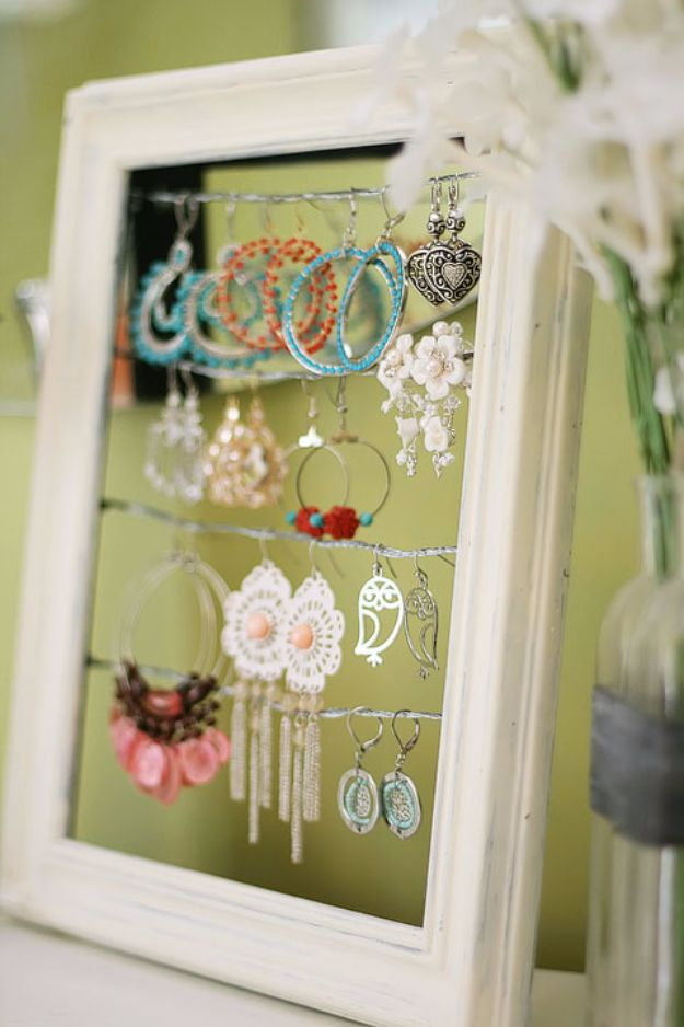 DIY Jewelry Ideas - Shabby Chic Dangly Earring Display - How To Make the Coolest Jewelry Ideas For Kids and Teens - Homemade Wooden and Plastic Jewelry Box Plans - Easy Cardboard Gift Ideas - Cheap Wall Makeover and Organizer Projects With Drawers Men http://diyjoy.com/diy-jewelry-boxes-storage