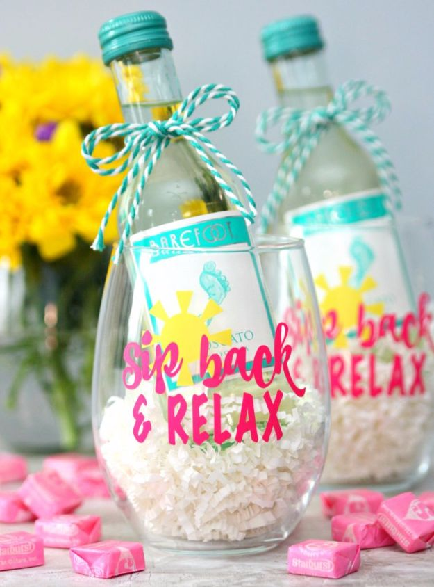 Cool Gifts to Make For Mom - Sip back And Relax Wine Glasses - DIY Gift Ideas and Christmas Presents for Your Mother, Mother-In-Law, Grandma, Stepmom - Creative , Holiday Crafts and Cheap DIY Gifts for The Holidays - Thoughtful Homemade Spa Day Gifts, Creative Wall Art, Special Ideas for Her - Easy Xmas Gifts to Make With Step by Step Tutorials and Instructions #diygifts #mom
