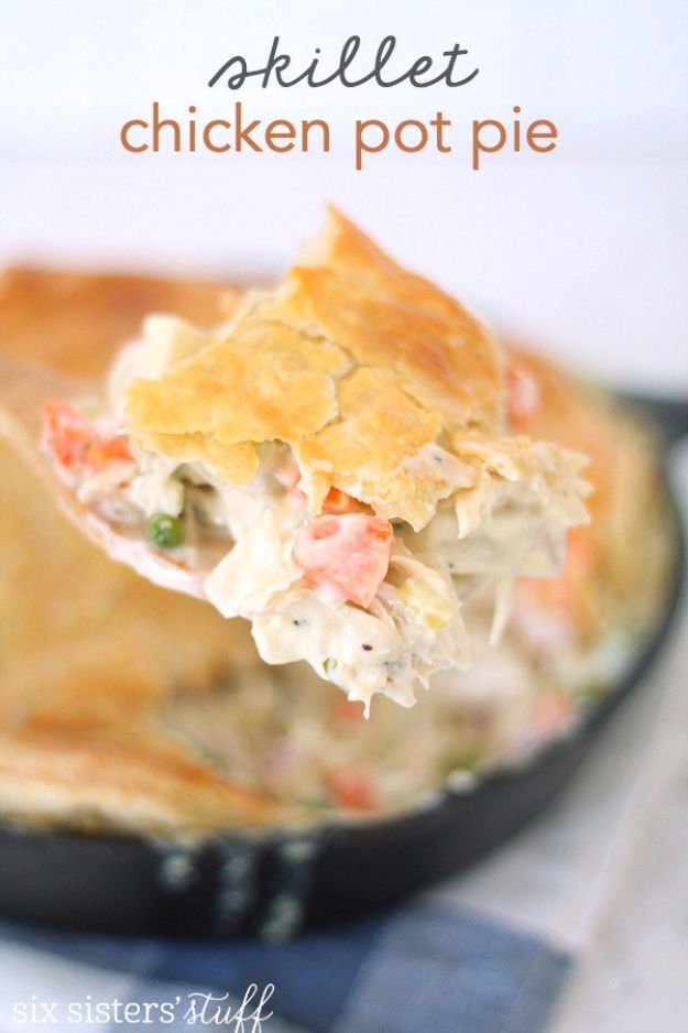 Best Fall Recipes and Ideas for Dinner - Skillet Chicken Pot Pie - Quick Meals With Chicken, Beef and Fish, Easy Crockpot Meals and Make Ahead Soups and Dinners - Healthy Dinner Recipes and Fast Last Minute Foods With Spinach, Vegetables, Butternut Squash, Pumpkin and Nuts