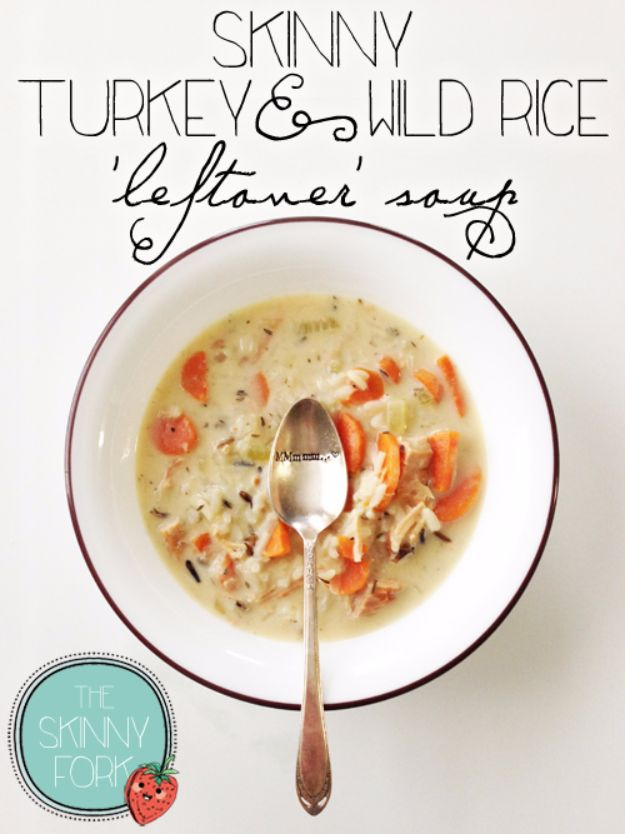 Healthy Thanksgiving Recipes - Skinny Turkey & Wild Rice Soup - Low fat Versions of Your Favorite Holiday Recipe for Turkey, Stuffing, Gravy, Pie and Desserts, Appetizers, Vegetables and Side Dishes like Spinach, Broccoli, Cranberries, Mashed Potatoes, Sweet Potatoes and Green Beans - Easy and Quick Last Minute Thanksgiving Recipes for Low Carb, Low Fat and Clean Eating Diets http://diyjoy.com/healthy-thanksgiving-recipes