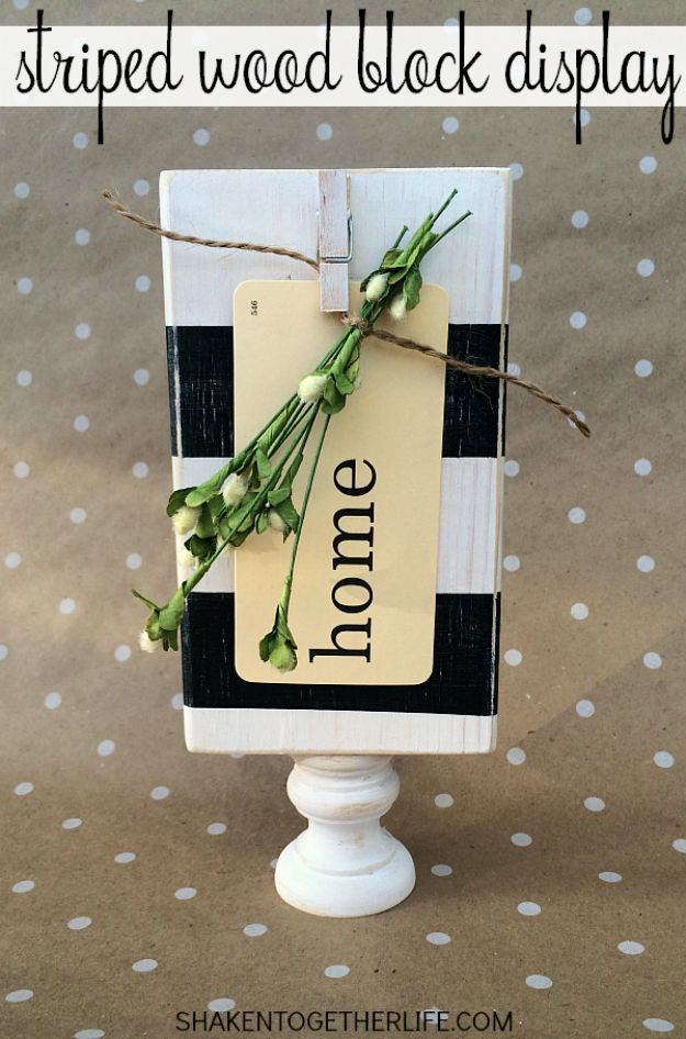 Last Minute Christmas Gifts - Striped Wood Block Display - Quick DIY Gift Ideas and Easy Christmas Presents To Make for Mom, Dad, Family and Friends - Dollar Store Crafts and Cheap Homemade Gifts, Mason Jar Ideas for Gifts in A Jar, Cute and Creative Things To Make In A Hurry http://diyjoy.com/last-minute-gift-ideas-christmas