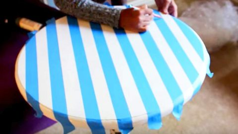 She Paints An Old Table And Tapes It Off.  You'll Love The Amazing Thing She Does Next! | DIY Joy Projects and Crafts Ideas