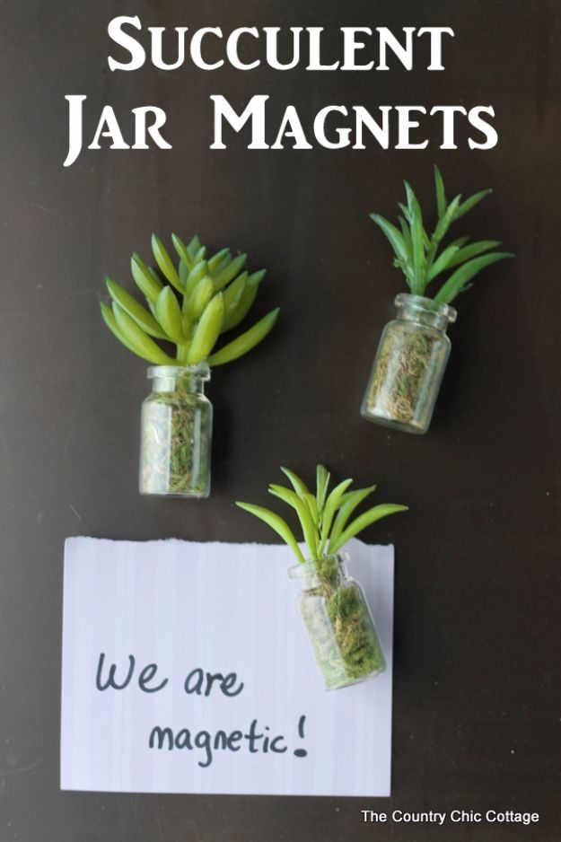 Cheap DIY Gifts and Inexpensive Homemade Christmas Gift Ideas for People on A Budget - Succulent Jar Magnets - To Make These Cool Presents Instead of Buying for the Holidays - Easy and Low Cost Gifts for Mom, Dad, Friends and Family - Quick Dollar Store Crafts and Projects for Xmas Gift Giving #gifts #diy