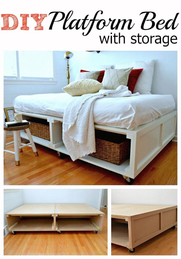 DIY Platform Beds - Super Easy Platform Bed With Storage - Easy Do It Yourself Bed Projects - Step by Step Tutorials for Bedroom Furniture - Learn How To Make Twin, Full, King and Queen Size Platforms - With Headboard, Storage, Drawers, Made from Pallets - Cheap Ideas You Can Make on a Budget