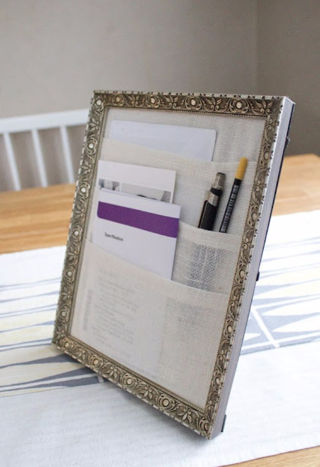 DIY Ideas With Old Picture Frames - Table Organizer - Cool Crafts To Make With A Repurposed Picture Frame - Cheap Do It Yourself Gifts and Home Decor on A Budget - Fun Ideas for Decorating Your House and Room http://diyjoy.com/diy-ideas-picture-frames
