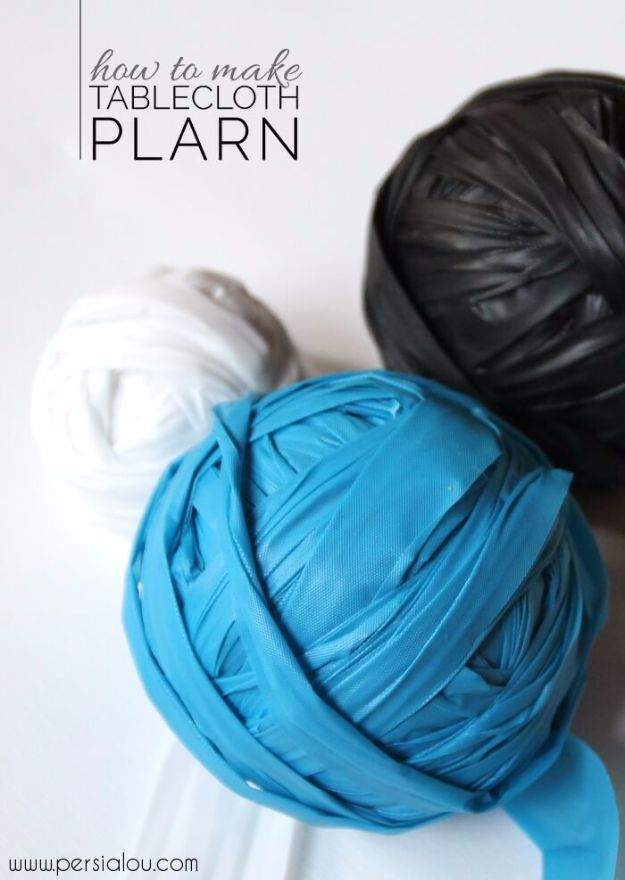 DIY Ideas With Plastic Bags - Tablecloth Plarn - How To Make Fun Upcycling Ideas and Crafts - Awesome Storage Projects Using Recycling - Coolest Craft Projects, Life Hacks and Ways To Upcycle a Plastic Bag #recycling #upcycling #crafts #diyideas