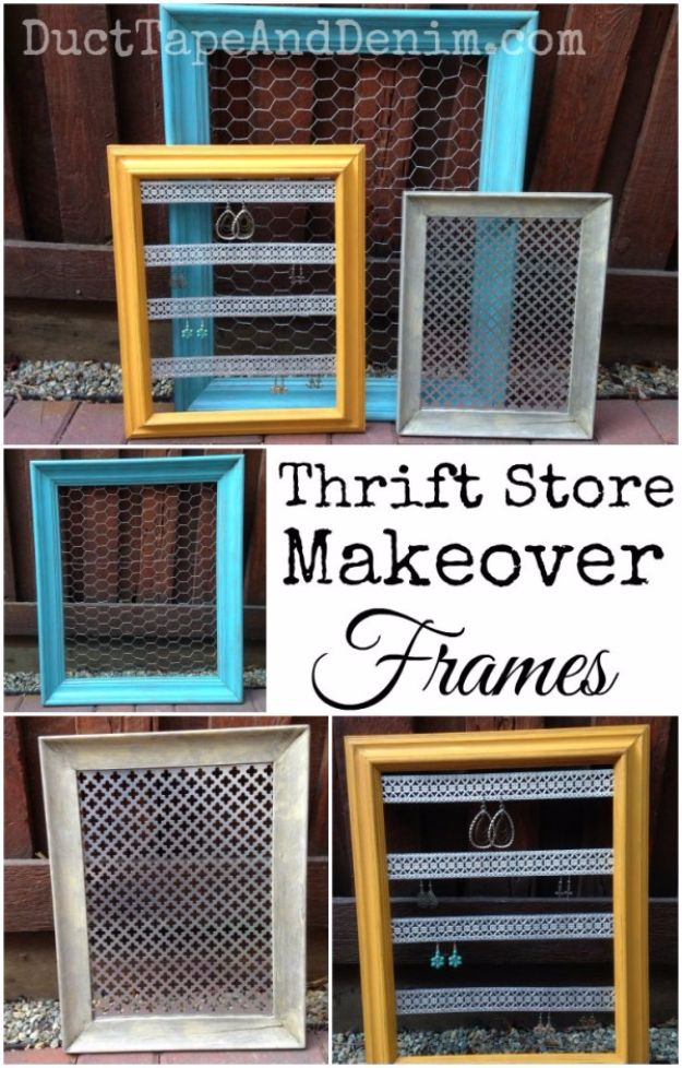 DIY Ideas With Old Picture Frames - Thrift Store Makeover Frames - Cool Crafts To Make With A Repurposed Picture Frame - Cheap Do It Yourself Gifts and Home Decor on A Budget - Fun Ideas for Decorating Your House and Room http://diyjoy.com/diy-ideas-picture-frames