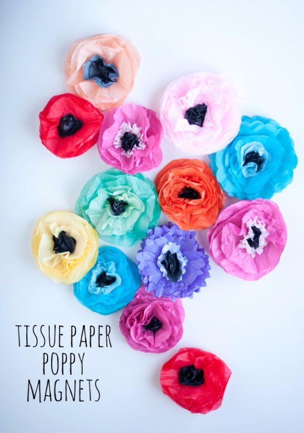 DIY Paper Flowers - Tissue Paper Poppy Magnets - How To Make A Paper Flower - Large Wedding Backdrop for Wall Decor - Easy Tissue Paper Flower Tutorial for Kids - Giant Projects for Photo Backdrops - Daisy, Roses, Bouquets, Centerpieces - Cricut Template and Step by Step Tutorial http://diyjoy.com/diy-paper-flowers