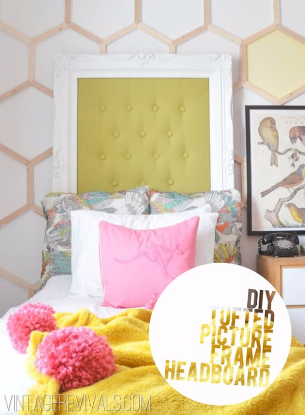 DIY Ideas With Old Picture Frames - Tufted Picture Frame Headboard DIY - Cool Crafts To Make With A Repurposed Picture Frame - Cheap Do It Yourself Gifts and Home Decor on A Budget - Fun Ideas for Decorating Your House and Room http://diyjoy.com/diy-ideas-picture-frames