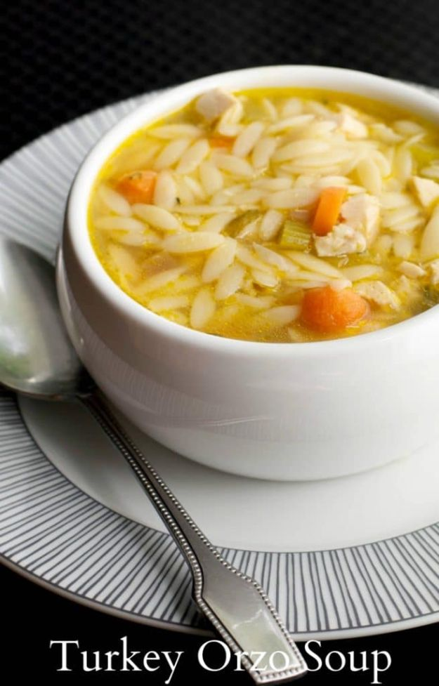 Healthy Thanksgiving Recipes - Turkey Orzo Soup - Low fat Versions of Your Favorite Holiday Recipe for Turkey, Stuffing, Gravy, Pie and Desserts, Appetizers, Vegetables and Side Dishes like Spinach, Broccoli, Cranberries, Mashed Potatoes, Sweet Potatoes and Green Beans - Easy and Quick Last Minute Thanksgiving Recipes for Low Carb, Low Fat and Clean Eating Diet