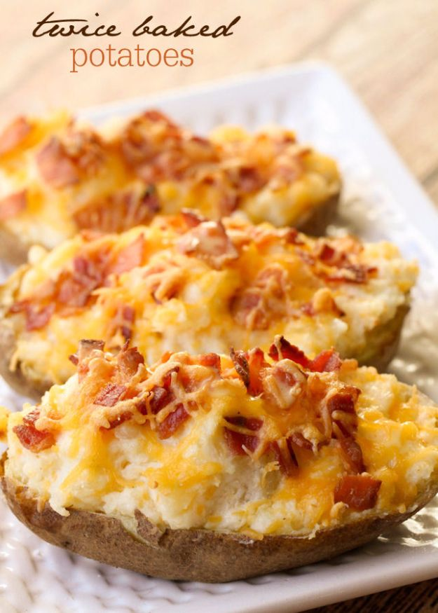 Best Thanksgiving Side Dishes - Twice Baked Potatoes - Easy Make Ahead and Crockpot Versions of the Best Thanksgiving Recipes #thanksgiving #recipes